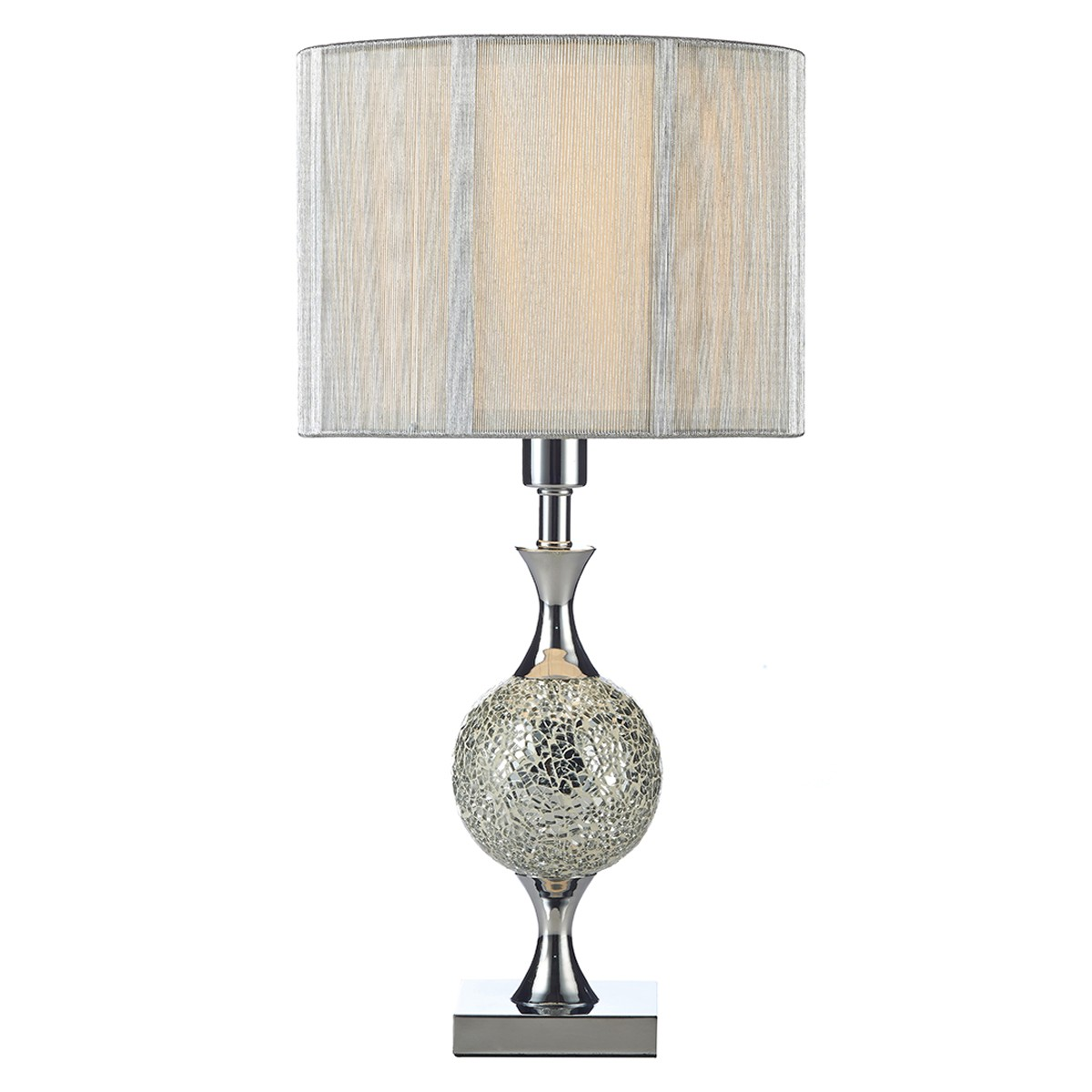 Elsa Table Lamp Silver Mosaic Complete With Silver String Shade from Franks Complete House Furnishers