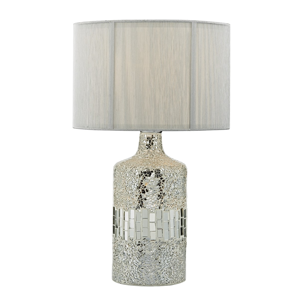 Guru Table Lamp Silver Mosaic Dual Source complete with Silver String Shade from Franks Complete House Furnishers